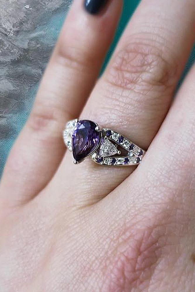gemstone engagement rings pear cut white gold pave band
