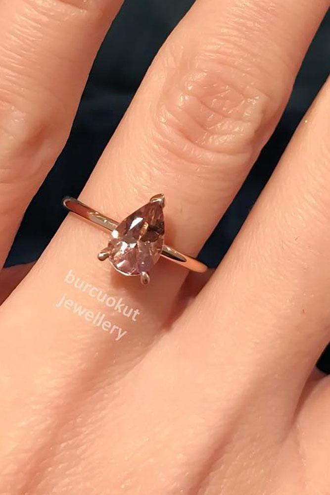 gemstone engagement rings pear tourmaline rose gold solitaire simple ring