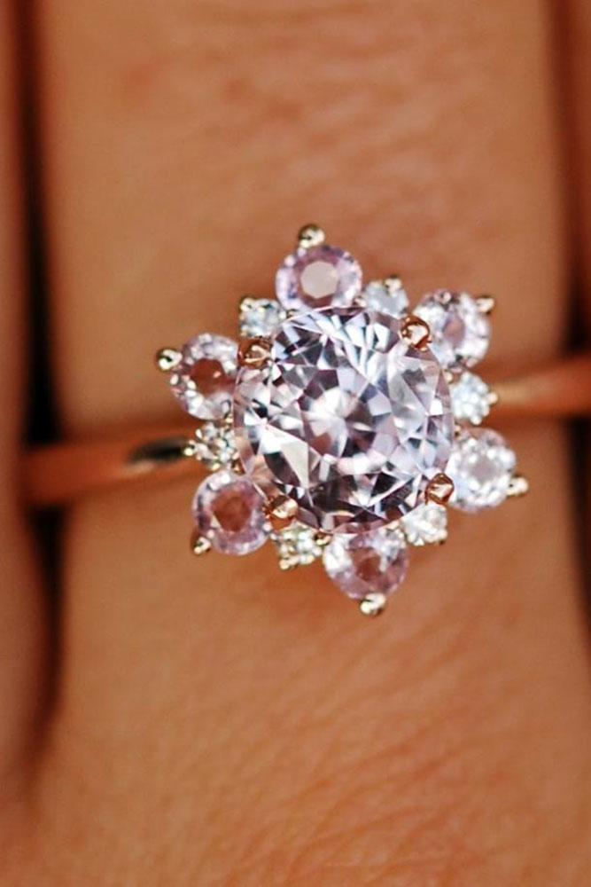gemstone engagement rings pink sapphire round cut floral ring