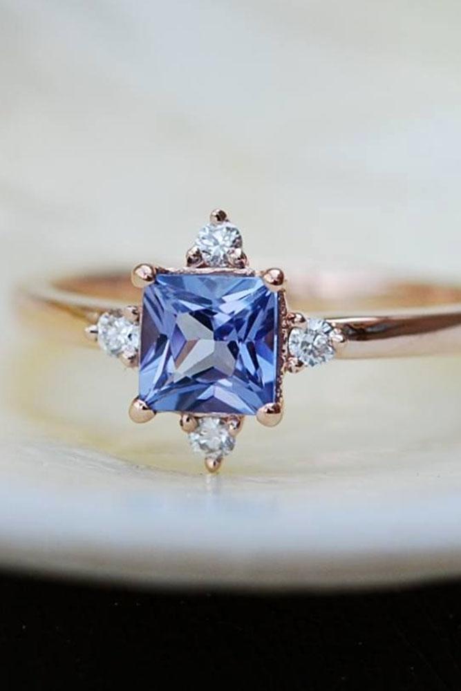 gemstone engagement rings princess cut sapphire diamonds