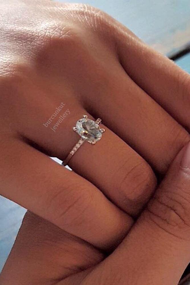 gemstone engagement rings rose gold oval aquamarine pave band