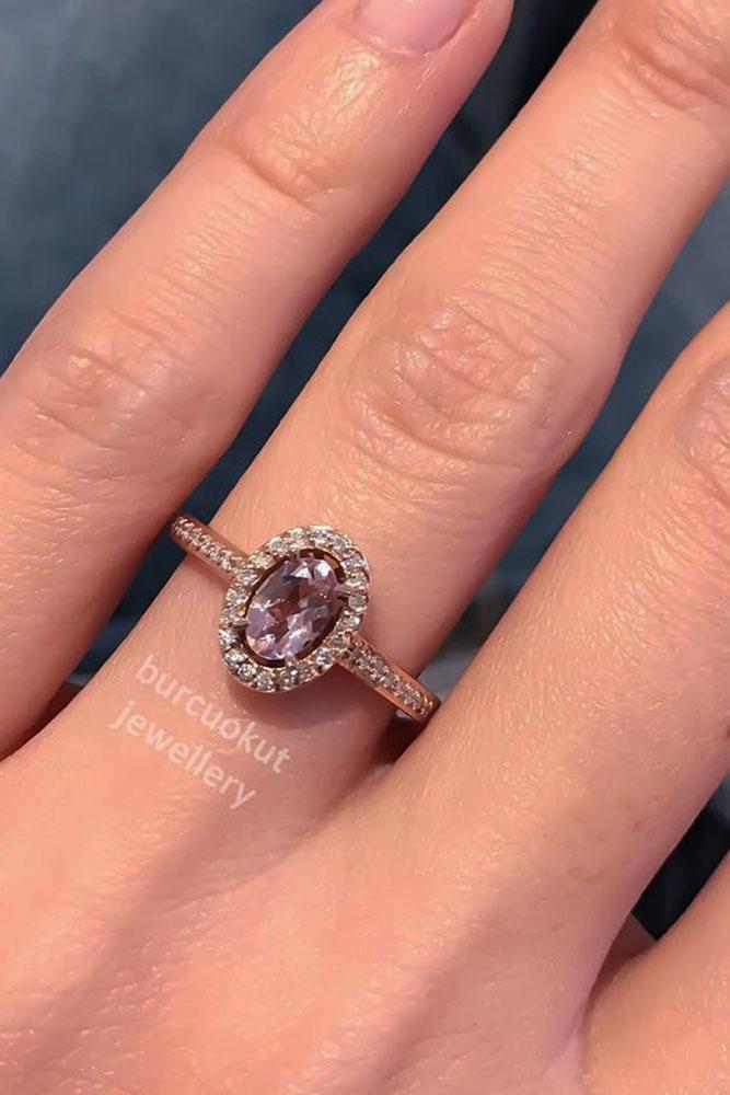 gemstone engagement rings rose gold peach tourmaline diamond halo pave band