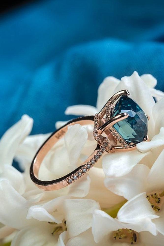 gemstone engagement rings rose gold sapphire diamond unique