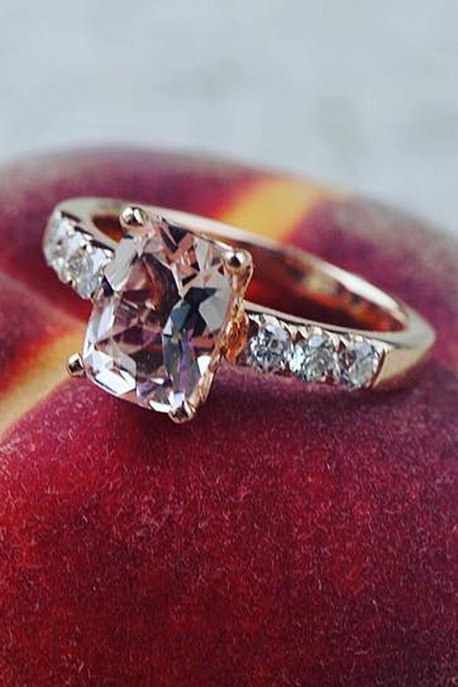 gemstone engagement rings rose gold solitaire pave band