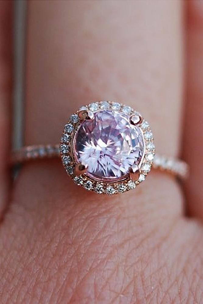 gemstone engagement rings rose gold sapphire halo round cut