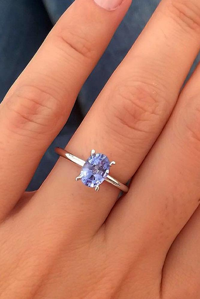 gemstone engagement rings simple oval sapphire white gold