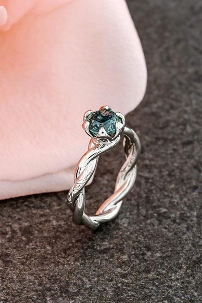 gemstone engagement rings twist band round cut sapphire