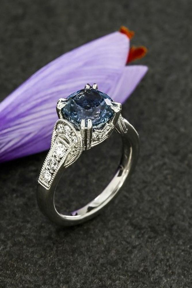 gemstone engagement rings vintage diamond and sapphire in white gold