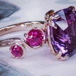gemstone engagement rings vintage rose gold amethyst and pink sapphire ring