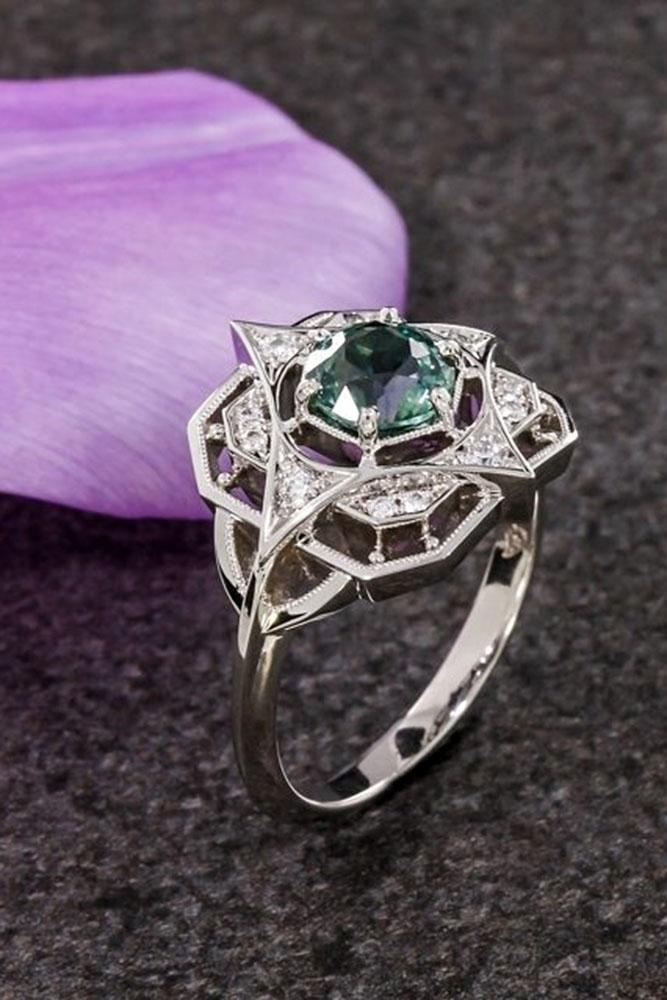 gemstone engagement rings vintage white gold ring green sapphire