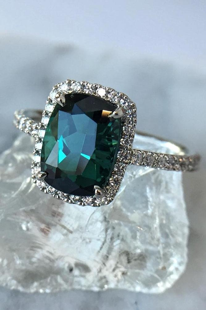 gemstone engagement rings white gold diamond halo tourmaline
