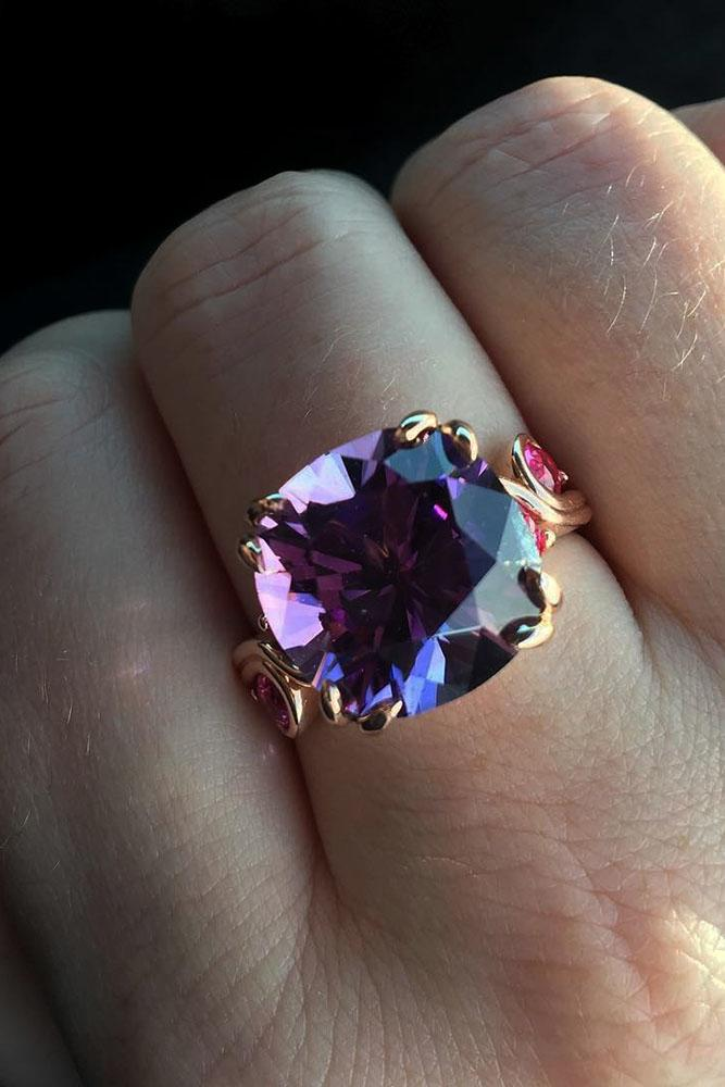 gemstone engagement rings yellow gold pink sapphires vintage amethyst
