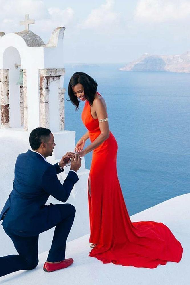 marriage proposal santorini engagement photo