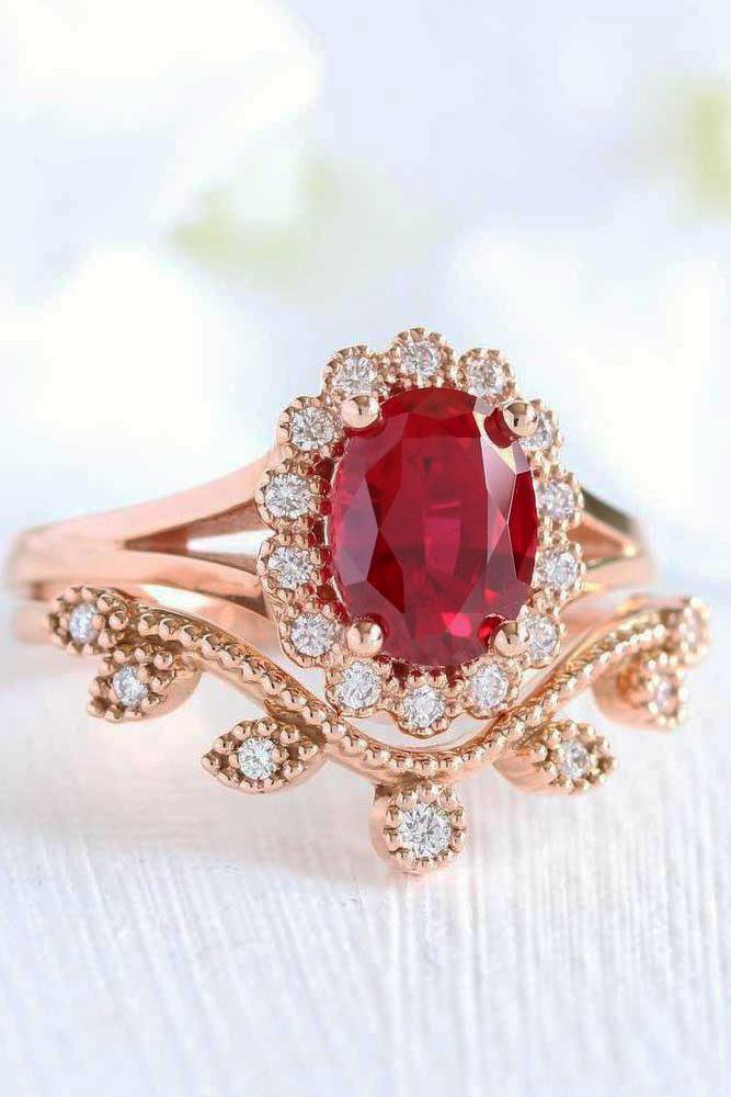 oval engagement rings colorful ovalcut stone ruby floral halo band