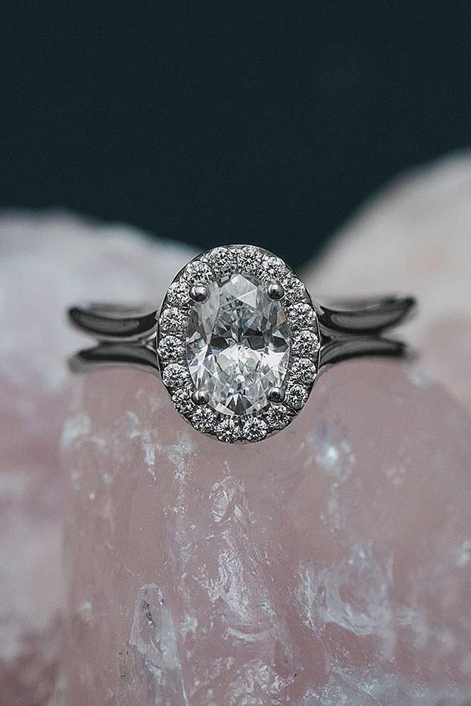 oval engagement rings halo diamond split white gold