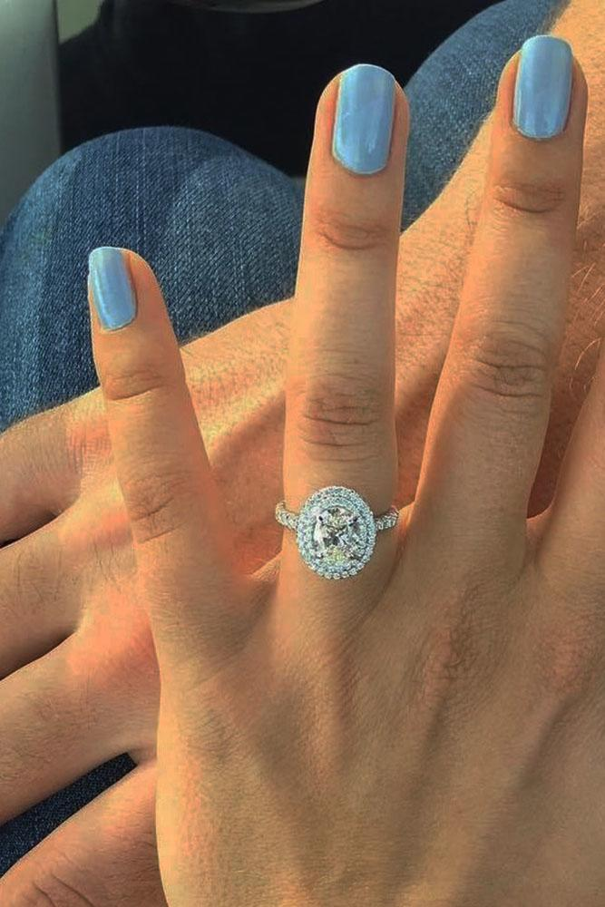 oval engagement rings halo white gold pave band diamond