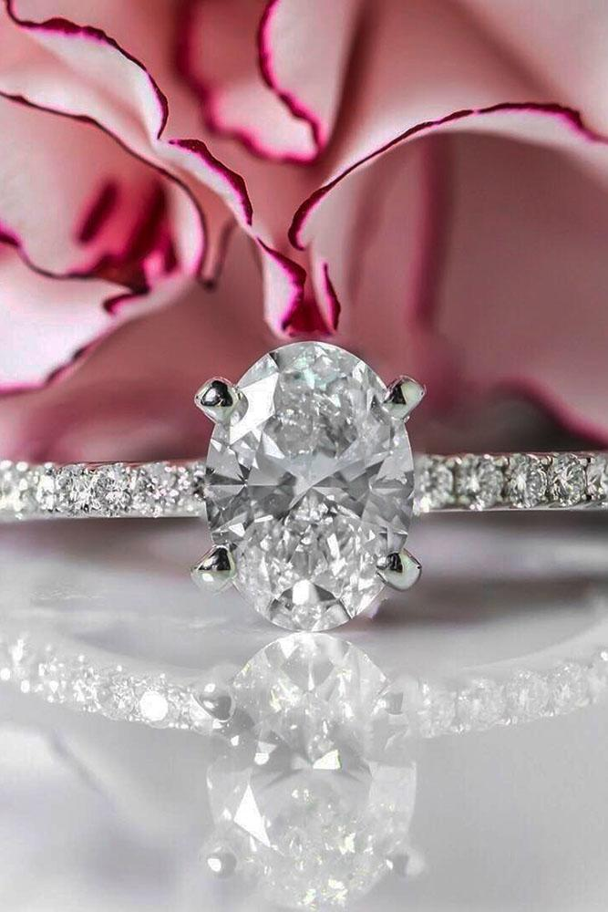 oval engagement rings pave band center diamond white gold