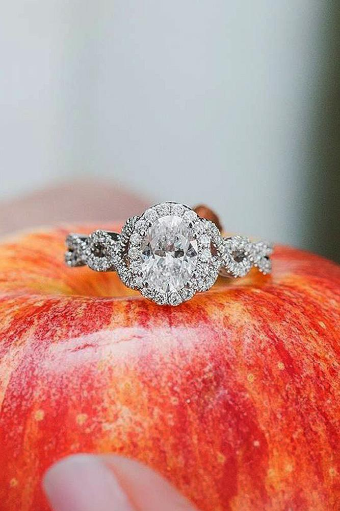 oval engagement rings pave band twist halo diamond