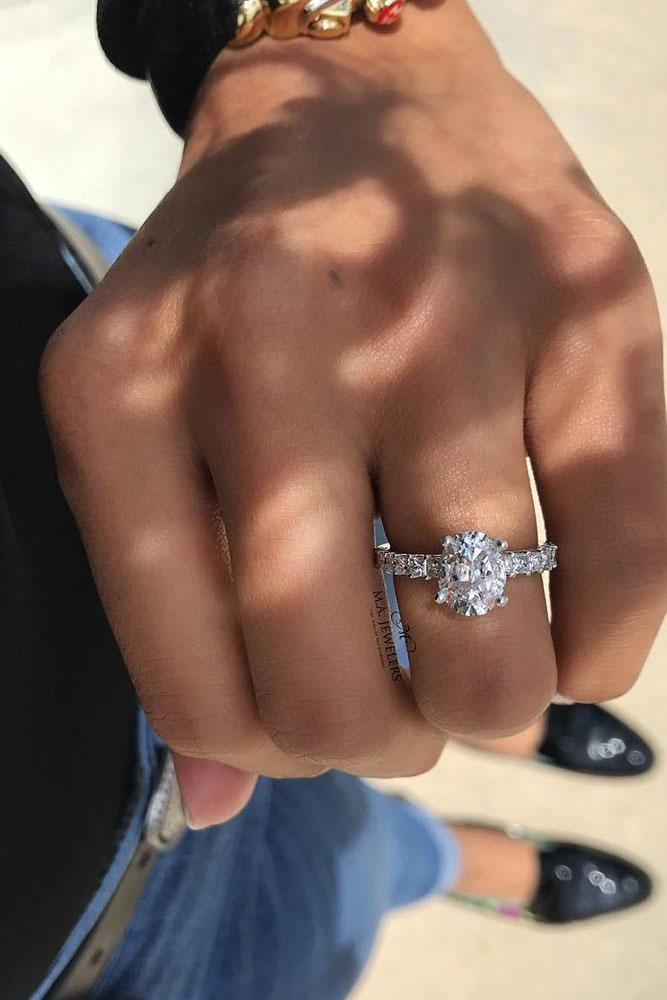 oval engagement rings pave band white gold diamonds