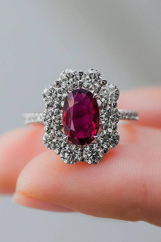 oval engagement rings ruby halo floral pave band