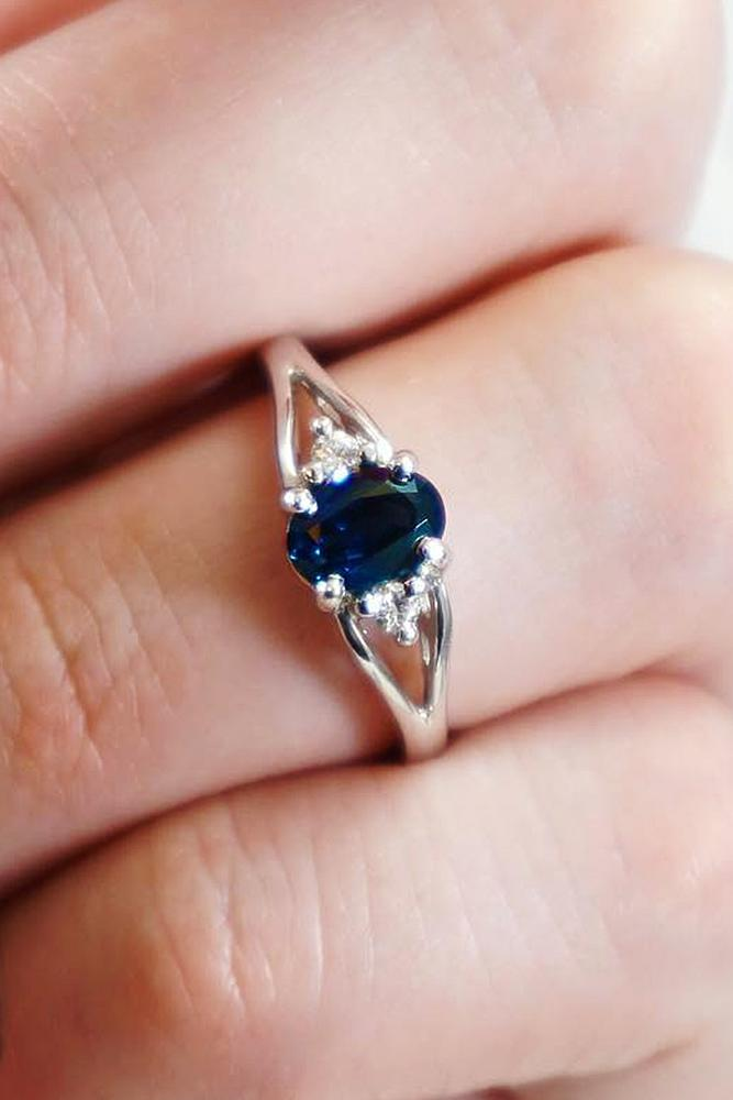 oval engagement rings sapphire three stones white gold solitaire