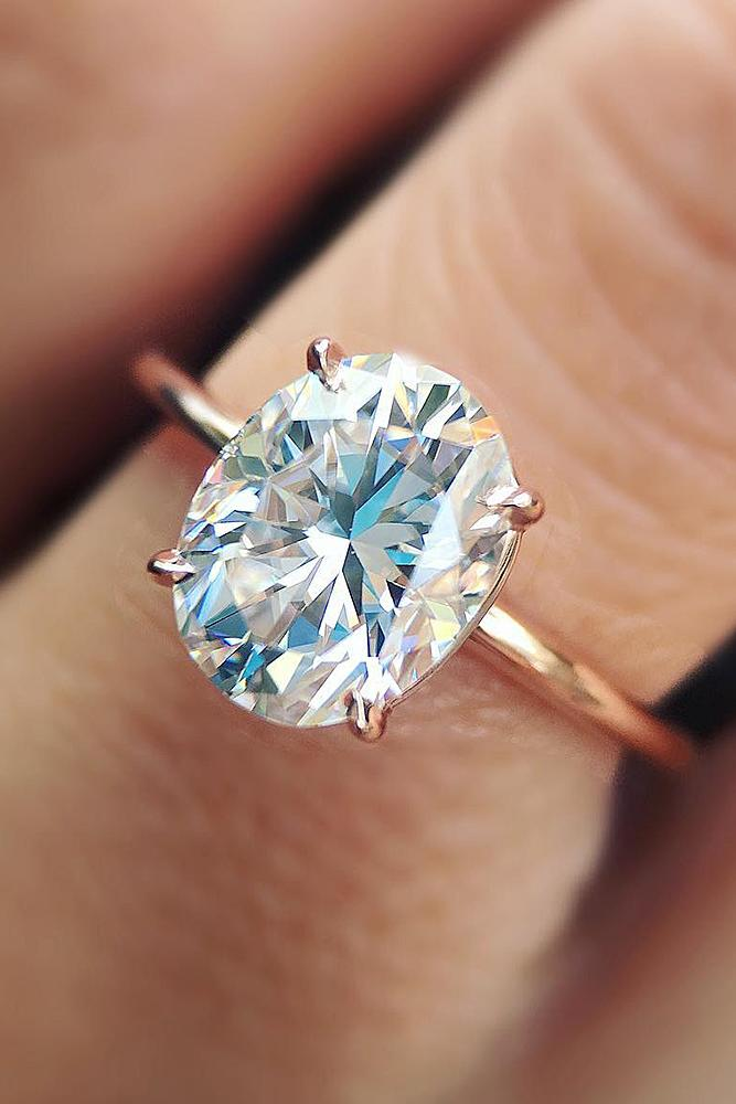 oval engagement rings simple rose gold solitaire diamond