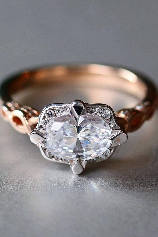 oval engagement rings unique rose gold center diamond
