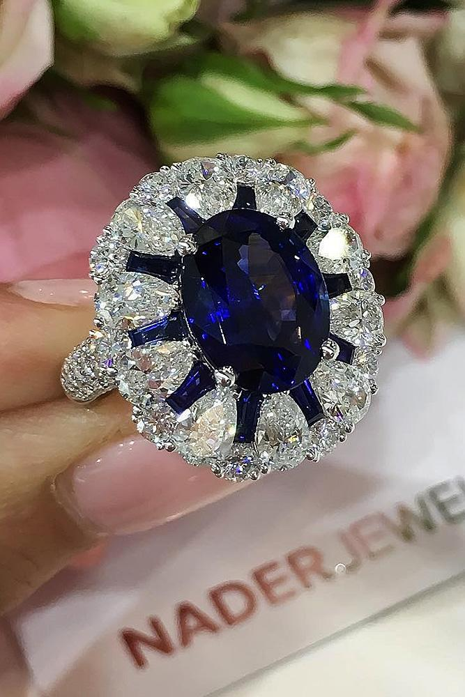 oval engagement rings vintage sapphire diamond pave band