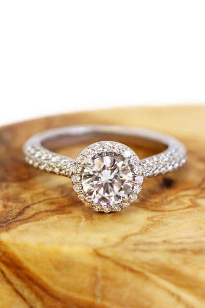 ritani engagement rings double pave bands diamond halo round cut - Ritani Wedding Rings