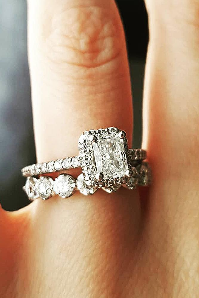 ritani engagement rings emerald cut halo pave band white gold wedding set