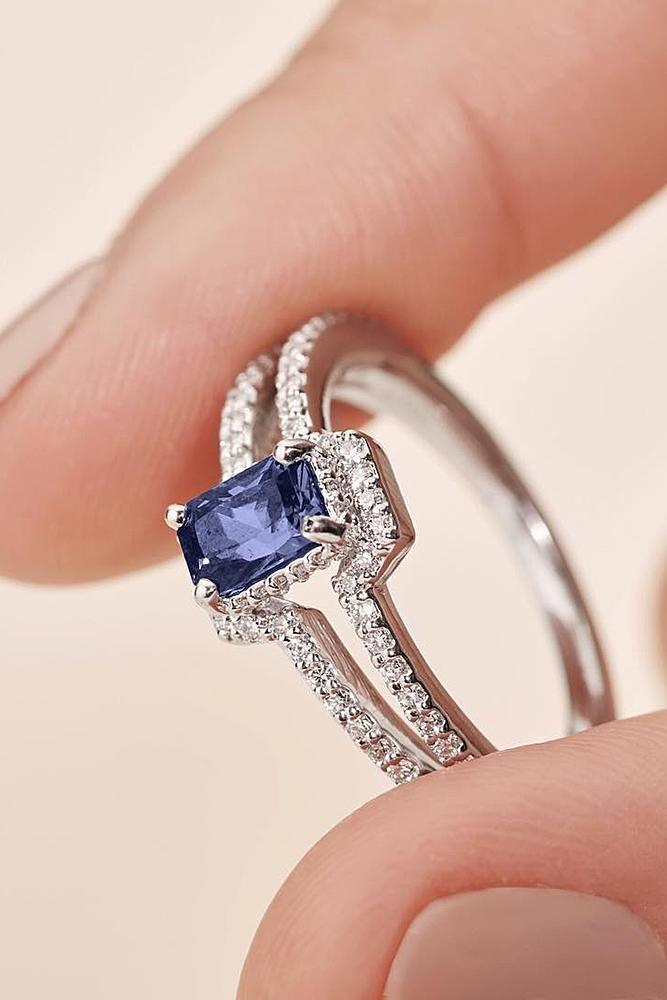 ritani engagement rings emerald cut modern pave band white gold