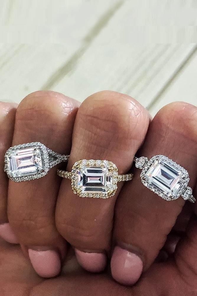 ritani engagement rings gorgeous white gold emerald cut diamond halo pave band classic ritani
