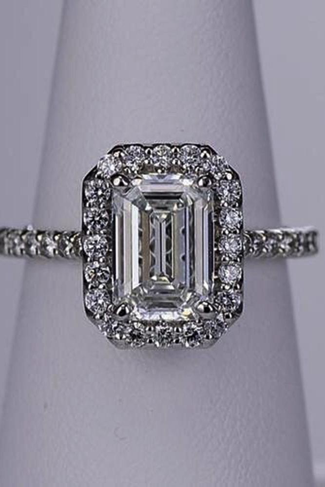 ritani engagement rings gorgeous white gold emerald cut diamond halo pave band with diamonds ritani