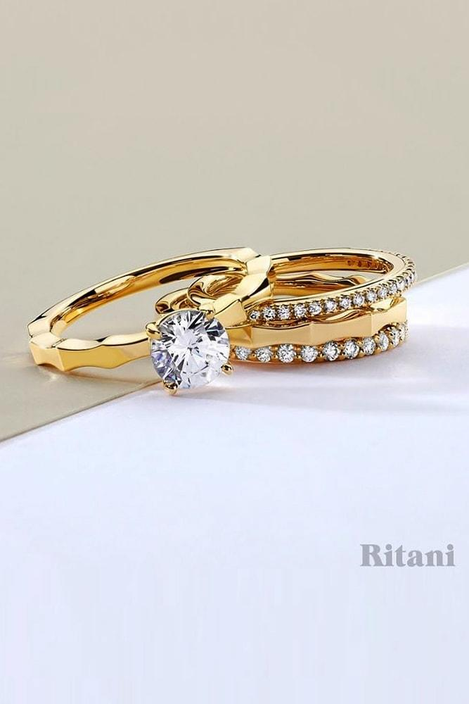 ritani engagement rings gorgeous yellow gold round cut diamond solitaire in set pave band simple ritani min