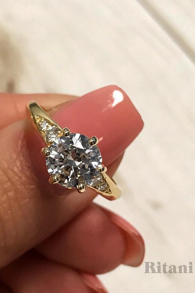 ritani engagement rings gorgeous yellow gold round cut diamond solitaire pave band classic ritani