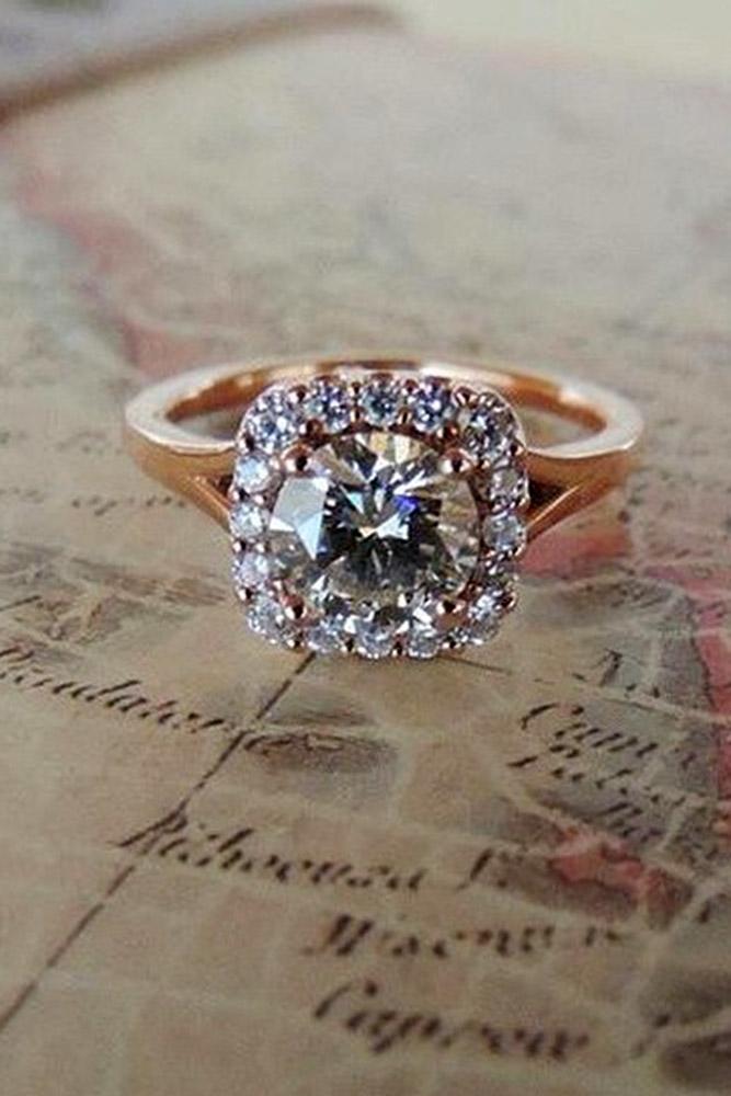 ritani engagement rings round cut diamond halo rose gold