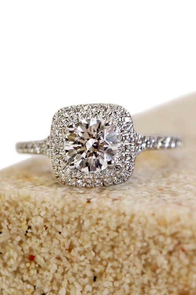 ritani engagement rings round diamond halo white gold pave band