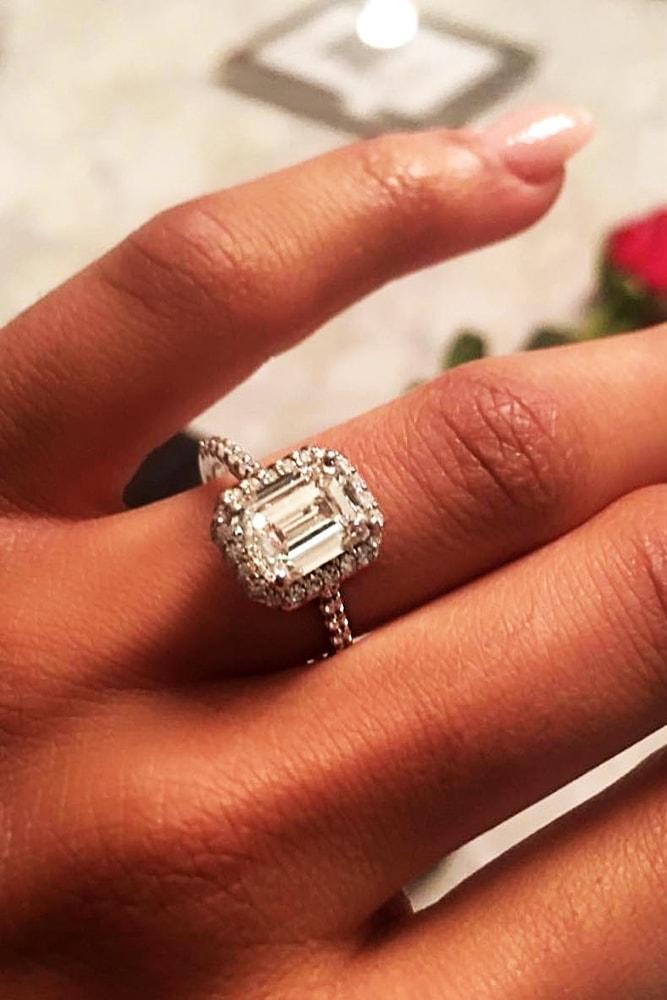 ritani engagement rings sparkling white gold emerald cut diamond halo pave band simple ritani