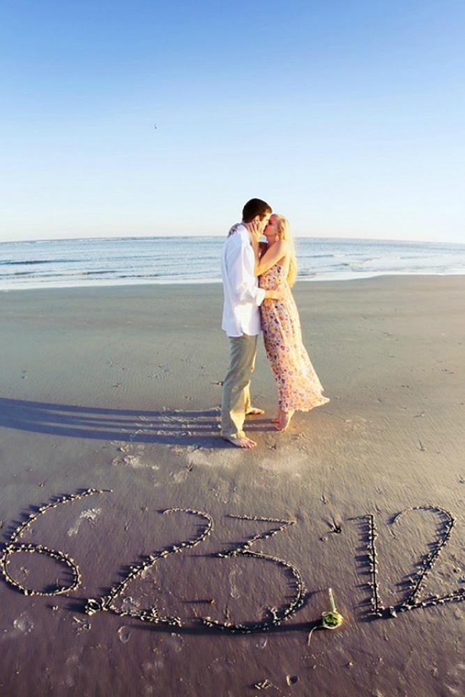 save the date ideas beach kiss and saving date