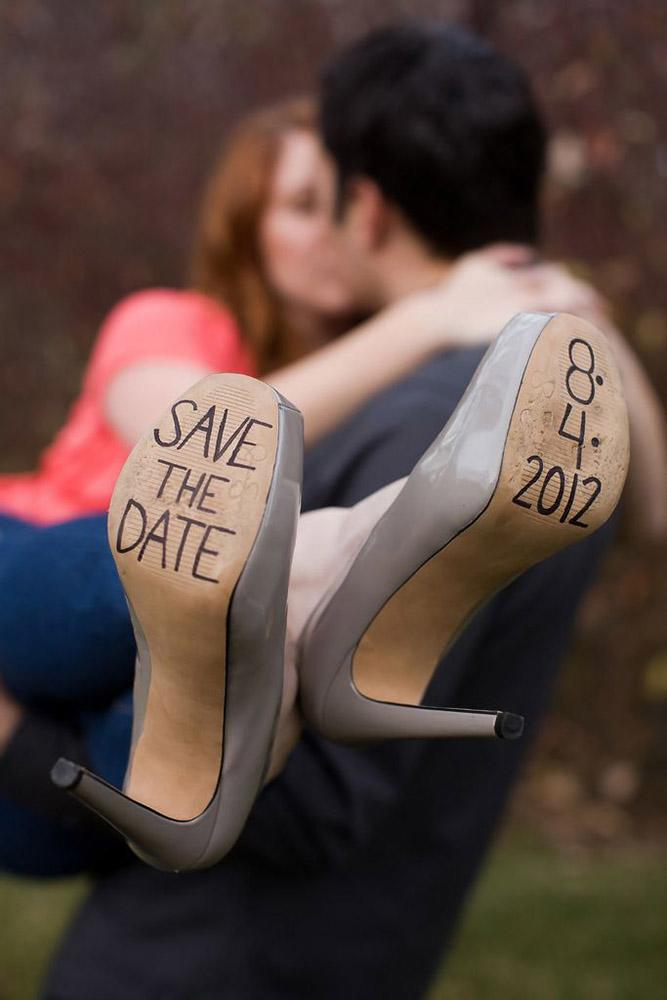 save the date ideas couple and shoes saving date
