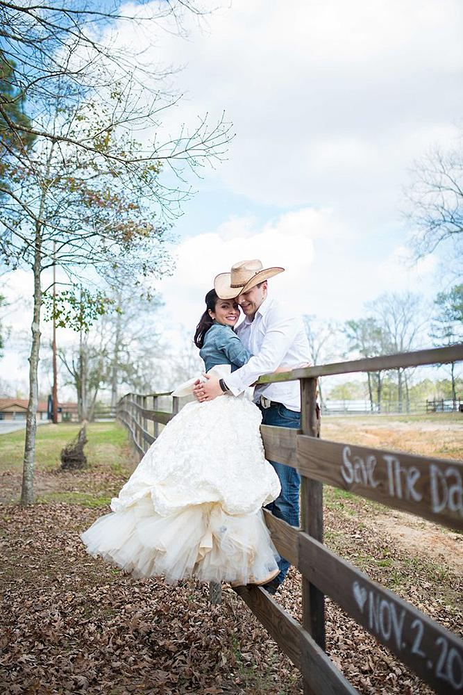 save the date ideas cowboy with the girl in dress