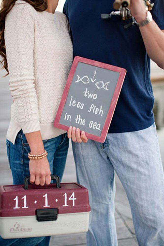 save the date ideas fishing couple