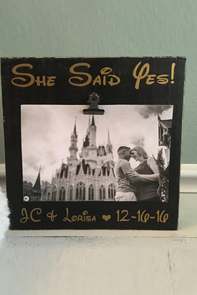 save the date ideas in disneyland style black and white photo in frame
