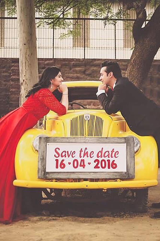 save the date ideas man and woman car
