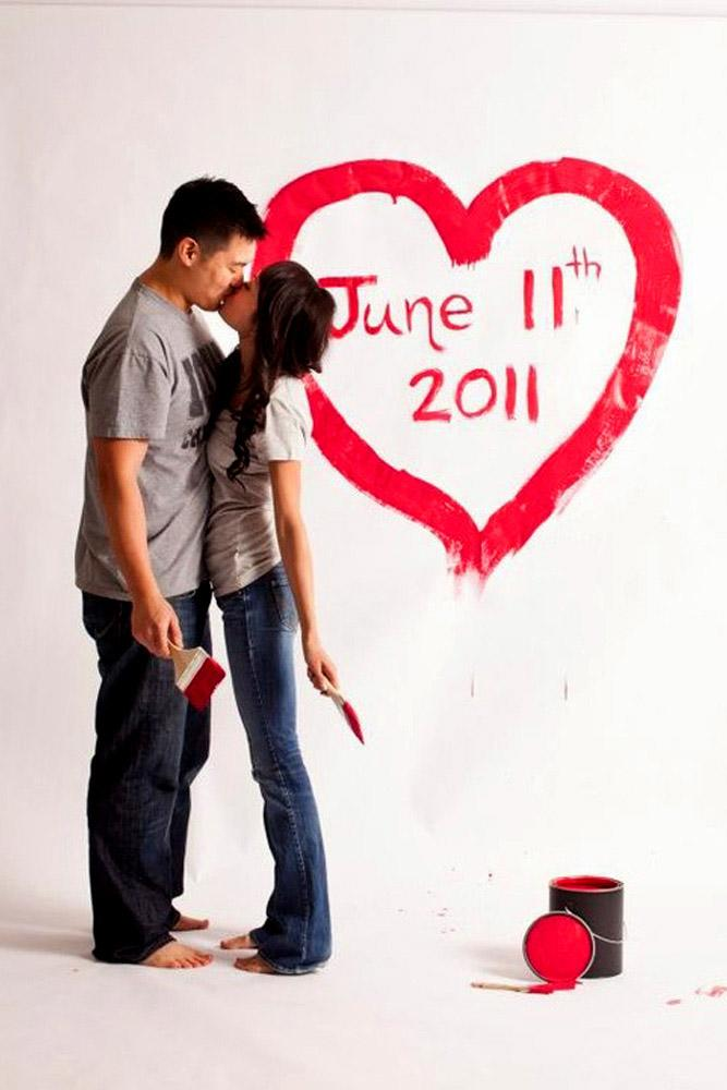 save the date ideas paint ideas for a couple kiss