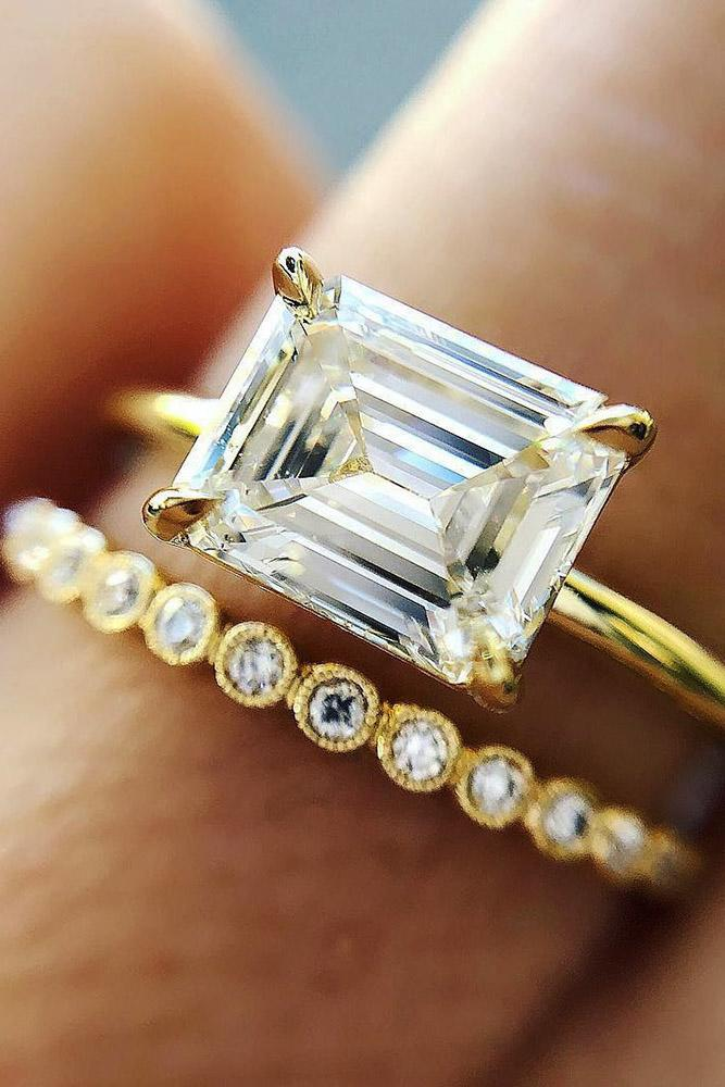 solitaire engagement rings antique emerald cut diamond yellow gold wedding sets