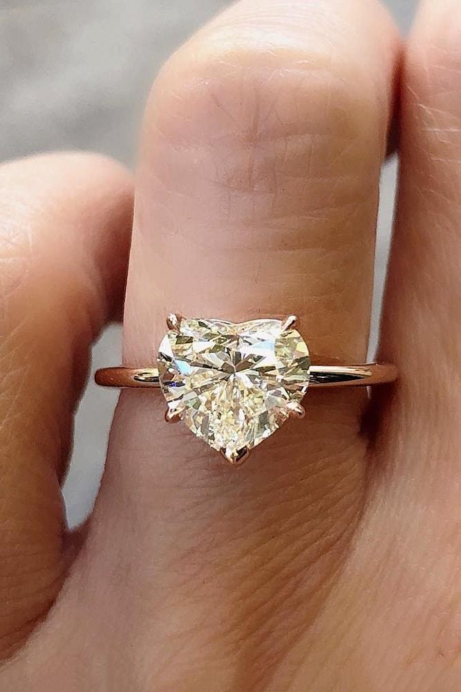 solitaire engagement rings rose gold heart cut solitaire engagement ring pave band simple