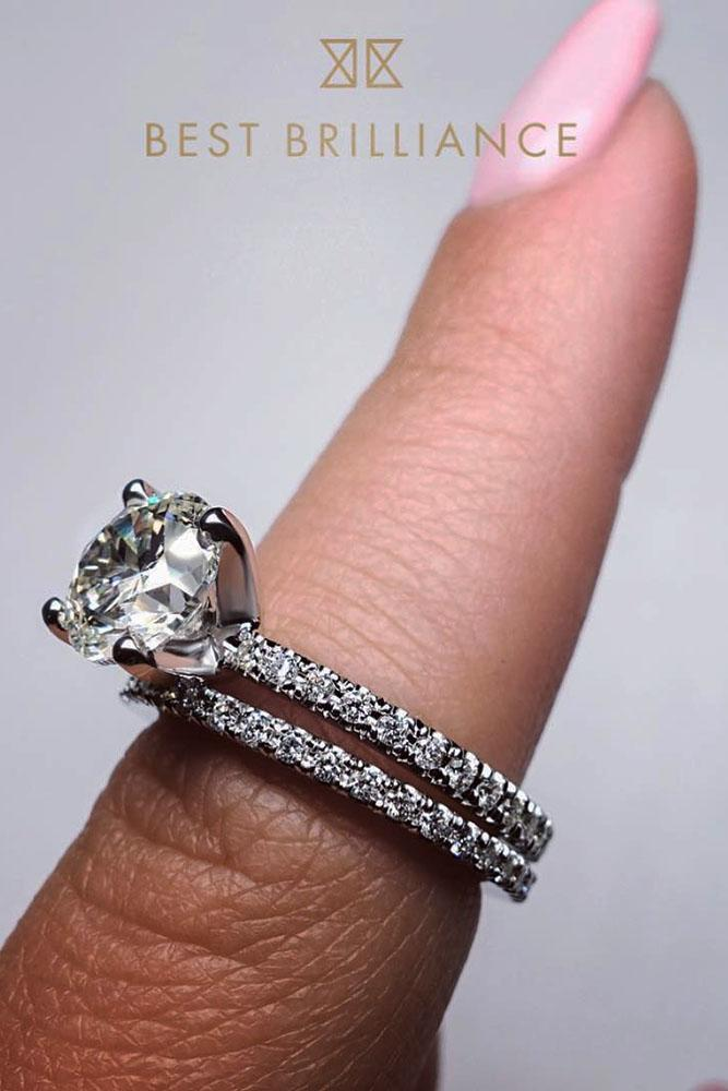 solitaire engagement rings round diamond white gold pave band