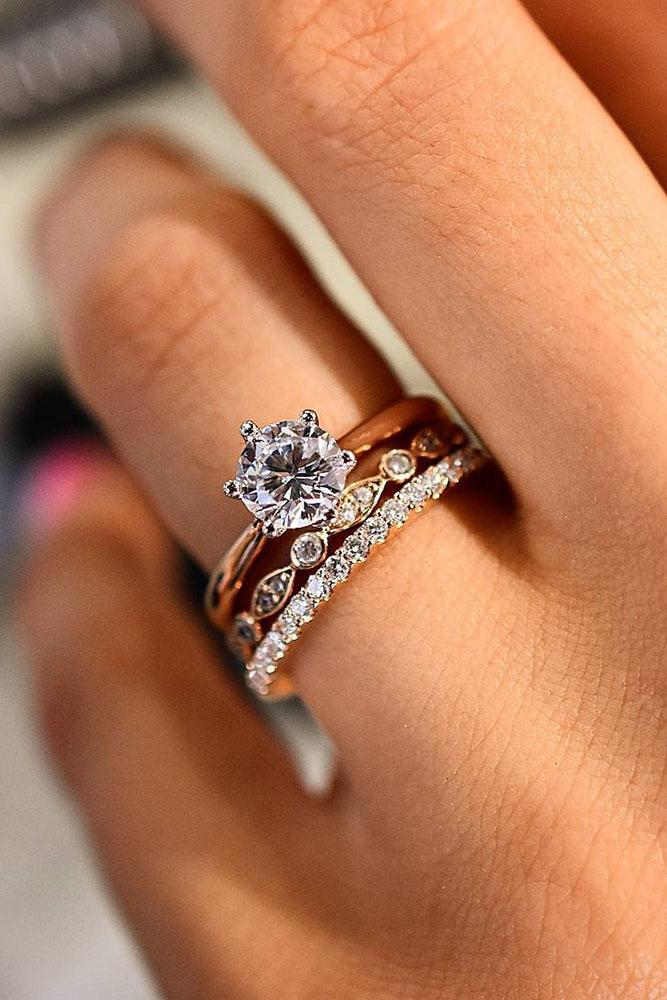 solitaire engagement rings round rose gold sets