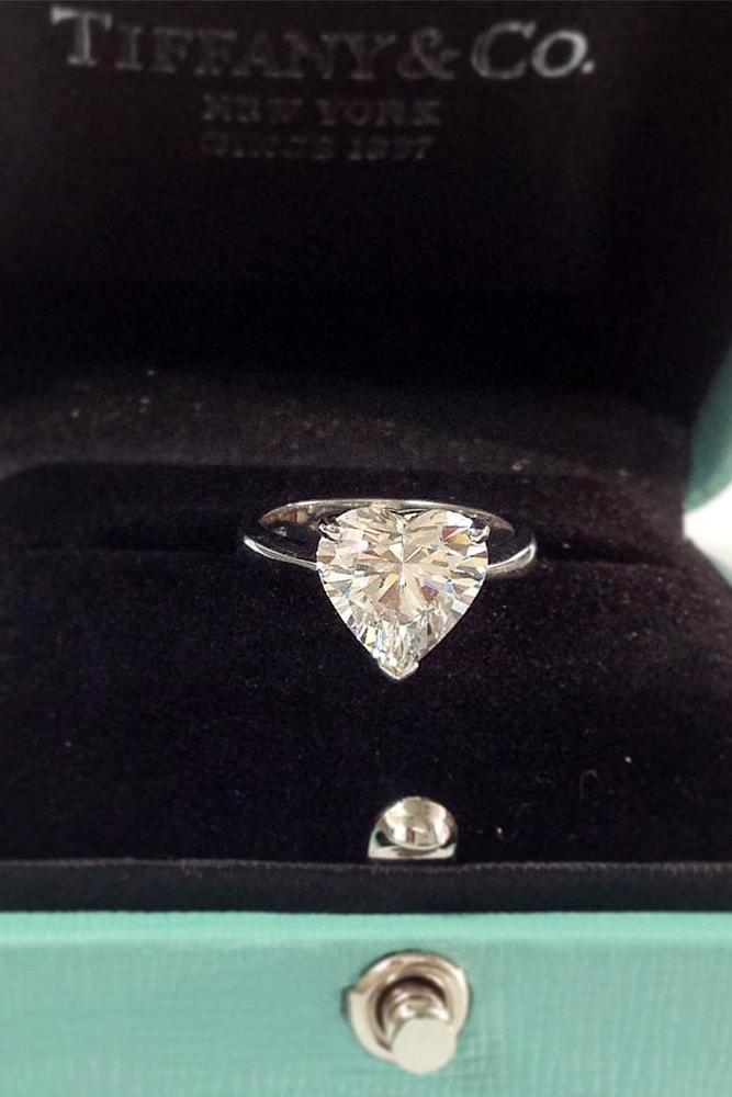 solitaire engagement rings white gold heart cut diamond solitaire engagement ring